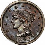1848 Braided Hair Cent. N-19. Rarity-6. Proof-64+ BN (NGC).