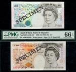 Bank of England, G.E.A. Kentfield, replacement 」10, 1992, serial number M08 819408, also a 」5, 1993,