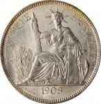 1908-A年坐洋一圆银币。巴黎造币厂。FRENCH INDO-CHINA. Piastre, 1908-A. Paris Mint. PCGS MS-64 Gold Shield.