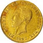 ECUADOR. 1847-GJ 8 Escudos. Quito mint. KM-34.1. AU-58 (PCGS).