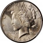 1924-S Peace Silver Dollar. MS-64+ (PCGS).
