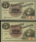 Sveriges Riksbank, 5 kronor (2), 1938, consecutive serial numbers H.342794/795, black, cream and pin