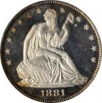 1881 Liberty Seated Half Dollar. WB-101. Type I Reverse. Proof-64 (PCGS). CAC.