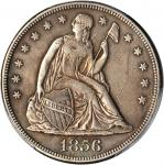 1856 Liberty Seated Silver Dollar. OC-1. Rarity-2. Repunched Date. EF Details--Streak Removed (PCGS)