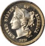 1872 Nickel Three-Cent Piece. Proof-66 Cameo (PCGS).
