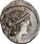 ROMAN REPUBLIC. Man. Acilius Glabrio. AR Denarius (3.76 gms), Rome Mint, 49 B.C.NGC MS, Strike: 4/5
