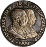 AUSTRIA. 100th Anniversary of the Tyrolean Uprising Silver Medal, 1909. PCGS SPECIMEN-65 Gold Shield