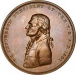 1801 Thomas Jefferson Indian Peace Medal. Second Size. Bronzed Copper. 74.8 mm, 8.1 mm thick. By Joh