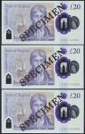 Bank of England, Sarah John, polymer £20, ND (20 February 2020), serial number AA01 000051/52/53, pu