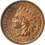 1870 Indian Cent. Bold N. MS-65 RB (PCGS).