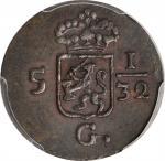 1808年荷兰东印度1/2 Duit 。NETHERLANDS EAST INDIES. 1/2 Duit, 1808. PCGS AU-55 Gold Shield.