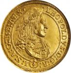 AUSTRIA. Gold 1/4 Taler of 6 Ducat Weight, ND (1669). Hall Mint. Leopold I. NGC MS-61.
