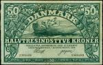 DENMARK. National Bank. 50 Kroner, 1914. P-22b.PMG Very Fine 30. Split.