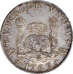 1767-Mo MF年墨西哥鹰洋壹圆。墨西哥城铸币厂。查理三世。 MEXICO. 8 Reales, 1767-Mo MF. Mexico City Mint. Charles III. PCGS E