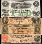 Lot of (4) Nebraska Obsolete Currency Notes. Various Issuers and Denominations. Very Fine to Uncircu