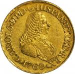 COLOMBIA. 8 Escudos, 1769/7-PN J. Popayan Mint. Charles III (1759-88). PCGS Genuine--Scratch, EF Det