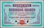 FAEROE ISLANDS. Danish Administration. 100 Kroner, 1940. P-12s. Specimen. PMG Gem Uncirculated 65 EP