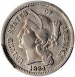 1884 Nickel Three-Cent Piece. Proof-30 (PCGS).
