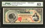 COLOMBIA. Banco Nacional de la República de Colombia. 25 Pesos, March 4, 1895. P-237s. Specimen.