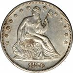 1876-S Liberty Seated Half Dollar. Type I Reverse. WB-21. Rarity-4. Very Small S. AU Details--Cleane