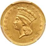1862 $1 Gold Indian. PCGS AU58