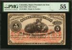 COLOMBIA. Banco Prendario de Soto. 5 Pesos, 1884. P-S796a. PMG About Uncirculated 55.