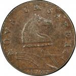 1787 New Jersey copper. Maris 68-w. Rarity-5. Outlined Shield. AU-53+ (PCGS).