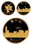1997年香港回归纪念金币一枚,精制,面值港币1000元,重量15.976克,成色91.6%,附原盒及证书