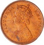 INDIA. British India. 1/4 Anna, 1880-C. Calcutta Mint. Victoria. PCGS MS-65 Red Gold Shield.