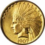 1907 Indian Eagle. No Periods. MS-64 (PCGS).