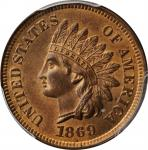 1869/69 Indian Cent. Snow-3a, FS-301. Repunched Date. MS-65 RB (PCGS). CAC.