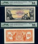 x Canadian Bank of Commerce, uniface obverse and reverse proof of $20 on card, 1935, black on multic