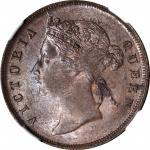 1897年1分 STRAITS SETTLEMENTS. Cent, 1897. Victoria. NGC MS-63 BN.