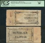 Republica Filipina, 1 peso, 20 November 1898-24 April 1899, serial number A528385, black, ornate bor