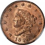 1820 Matron Head Cent. N-13. Rarity-1. Large Date. MS-65 RD (PCGS).