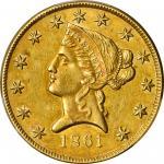 1861 Clark, Gruber & Co. $10 Gold. K-7. Rarity-4. AU-55+ (PCGS). CAC.