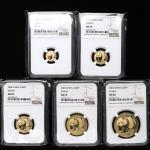 2002年熊猫纪念金币一组5枚 NGC MS