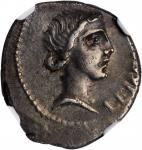 BRUTUS. AR Denarius (3.72 gms), Military mint traveling with Brutus in Lycia, 42 B.C. NGC Ch EF, Str