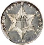 1860 Silver Three-Cent Piece. Proof-64 (PCGS).