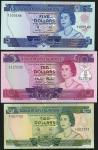 Solomon Islands, $2, prefix Z/1, $5, serial number A/1 000144, $10, prefix A/2, ND (1977), (Pick 5a,