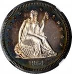 1864 Liberty Seated Quarter. Proof-66 Cameo (NGC).