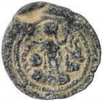 SASANIAN KINGDOM: Yazdigerd I, 399-420, lead 16mm (2.12g), G-—, king s bust right, symbol resembling