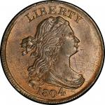 1804 Draped Bust Half Cent. Cohen-6, Breen-6. Rarity-2. Spiked Chin. Mint State-65 BN (PCGS).