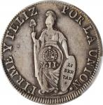 PHILIPPINES. Philippines - Peru. 8 Reales, ND (1834-37). Isabel II. PCGS VF-30 Gold Shield; Counterm