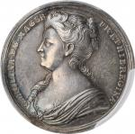 GREAT BRITAIN. Caroline Coronation Silver Medal, 1727. London Mint. PCGS SPECIMEN-61 Gold Shield.