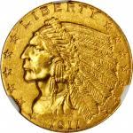 1911-D Indian Quarter Eagle. MS-63+ (NGC).