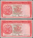 1977年香港上海汇丰银行一佰圆2枚连号,均PMG67EPQ