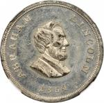 1864 Abraham Lincoln. DeWitt-AL 1864-34, Cunningham 3-360W, King-100. Rarity-8. White Metal. 25 mm.