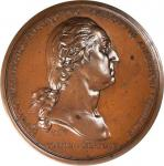1776 (1835-1880) Washington Before Boston Medal. Paris Mint, Second Restrike. Dark Bronze. 68.5 mm.