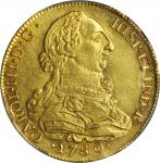 COLOMBIA. 8 Escudos, 1780-P SF. Popayan Mint. Charles III (1759-88). PCGS MS-61 Gold Shield.
